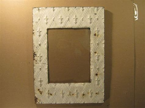 recycled antique tin ceiling metal picture frame shabby