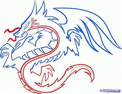 Dragon Draw Tribal Tattoo Step Dragoart Drawing