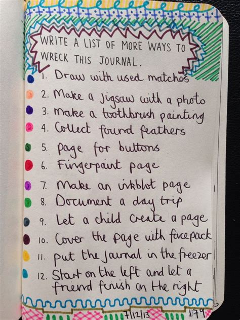 Write A List Of More Ways To Wreck This Journal  Wreck This Journal!  Pinterest  Wreck This