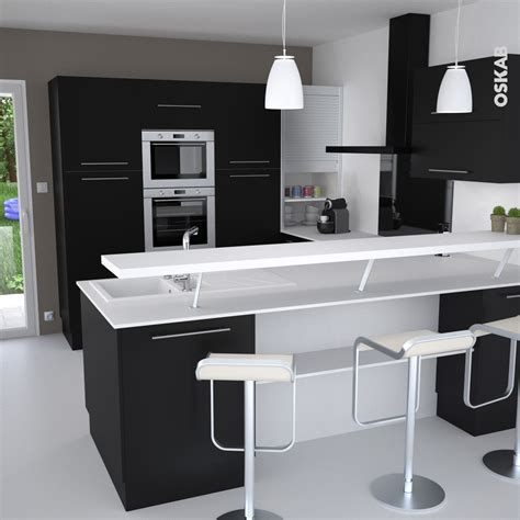 cuisine en noir et blanc cuisine et blanche au style design avec snack bar