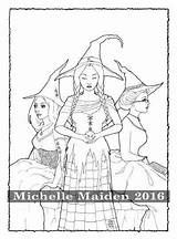 Witches Three Coloring Pages Adult Printable Sisters Friends Pagan Wiccan Therapy sketch template