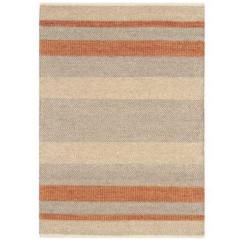 tapis moderne raye orange beige  gris en laine coton