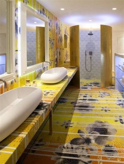yellow mosaic bathroom tiles ideas  pictures