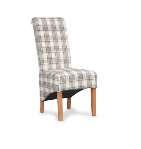 krista herringbone cappucino check fabric dining chair