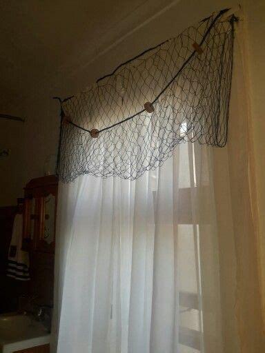 curtains  fish net draping nautical bathroom beach