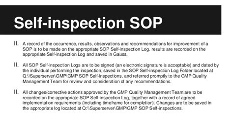 Self-inspection Sop