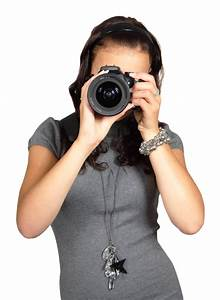 Young Woman with Digital Photo Camera PNG Image - PngPix