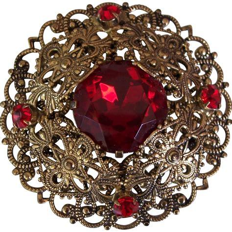 vintage brass filigree red stone brooch czech  german
