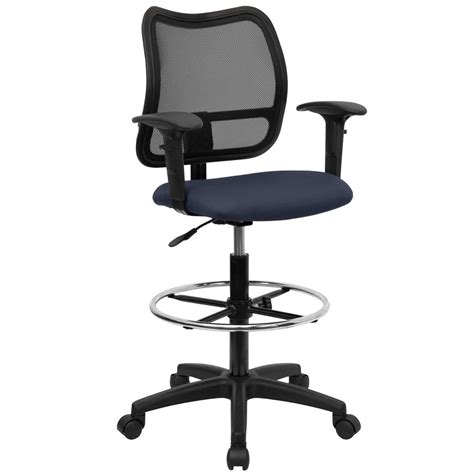 desk stool with back tall office desk chair mid back mesh drafting stool swivel