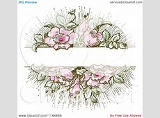 Clipart of a Vintage Pink Flower and Green Leaf Background
