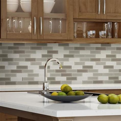 glass subway tile taupe blend  mineral tiles