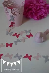 Guirlande Chambre Fille : guirlande papillons papier carton rose poudr gris rose ~ Preciouscoupons.com Idées de Décoration