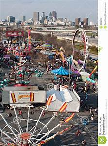 Elevated View Of Urban Fairgrounds Shows Atlanta City ...