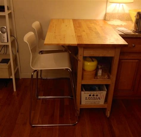 kitchen cart  drop leaf extension ikea hackers