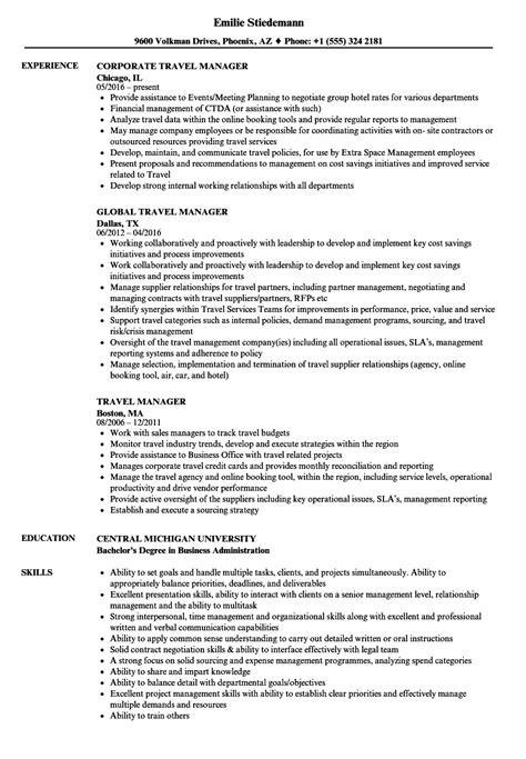 travel manager resume sles velvet