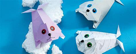 tiere aus papier falten origami tiere falten robbe familie de