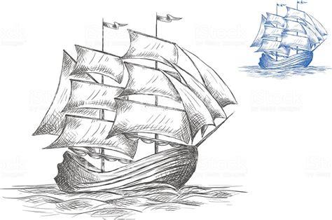 Dibujo Barco De Vela by Dibujo Del Barco De Vela En Un Velero Arte Vectorial De