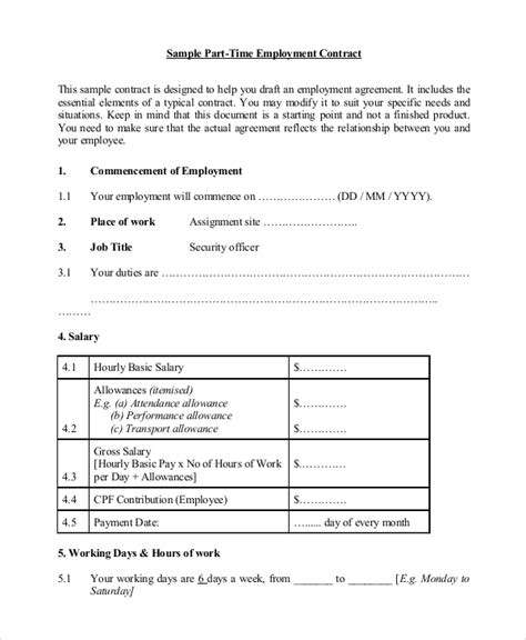 sample employment agreement templates   ms