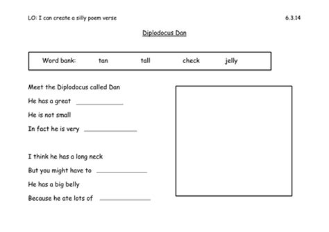 year 1 poetry worksheets silly dinosaur poem year 1 by els18 teaching resources tes