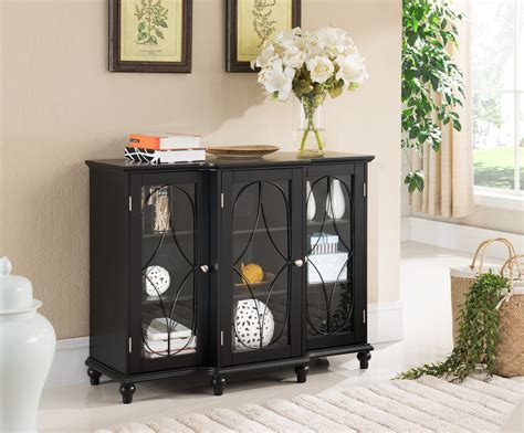 Black Or Cherry Wood Sideboard Buffet Console Table With