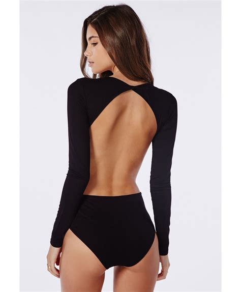 Long Sleeve Backless Bodysuit Black Tops Bodysuits