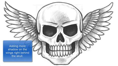 draw  skull  wings part    youtube