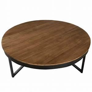 Table Ronde En Teck : grande table basse ronde en teck et m tal asio univers ~ Teatrodelosmanantiales.com Idées de Décoration