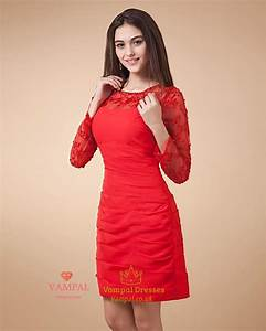 Short Red Dress With Long SleevesRed Lace Dress Long Sleeve | Vampal Dresses