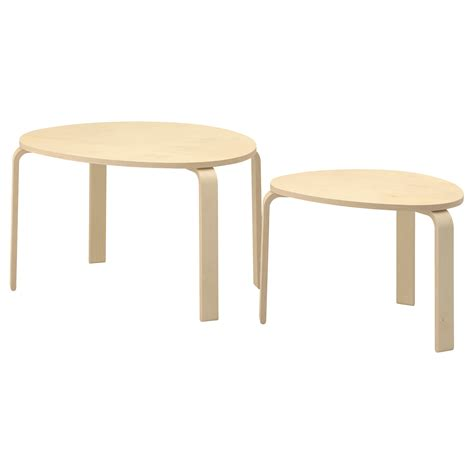 ikea coffee tables and end tables svalsta nest of tables set of 2 birch veneer ikea