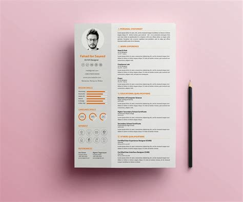 simple cv resume psd template psd