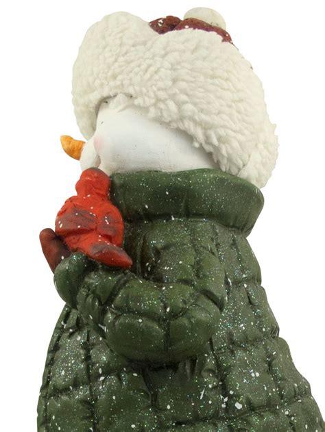 nordic resin snowman decor holding cardinal bird house