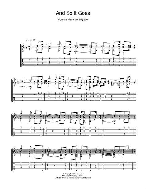 and so it goes guitar tab by billy joel guitar tab 39837