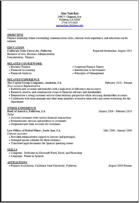 internship resume sample career center csuf