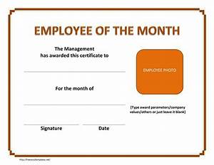 Employee Certificate Templates Free Employee Of The Month Template E Commercewordpress
