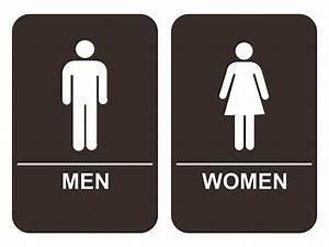 Men women39s bathroom sign set ada compliant tactile braille for Men and women bathroom symbols