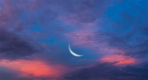 Moon And Clouds Wallpaper by Nature Sky Clouds Year Moon Crescent Pink Blue