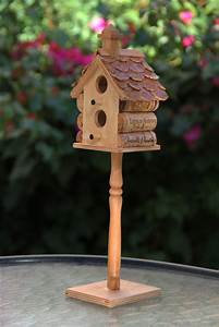 Small, Birdhouse, On, Stand, Wood, And, Wine, Corks