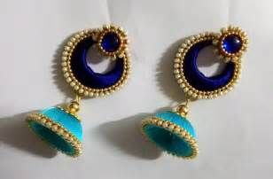 chandbali earrings online silk thread jhumkas earrings fashionous
