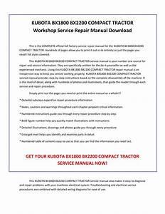 Kubota Bx1800 Bx2200 Compact Tractor Service Repair Manual