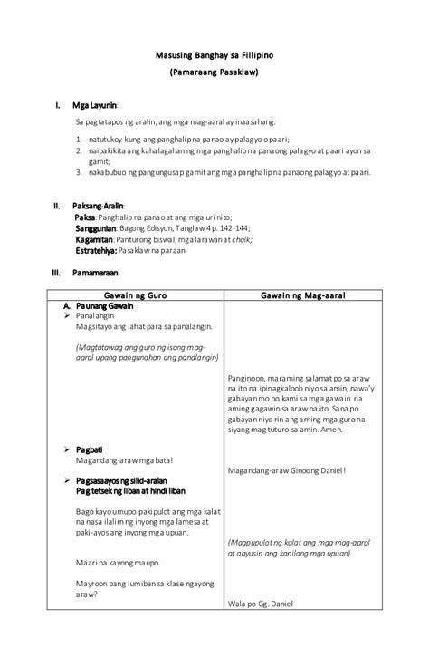 masusing banghay aralin sa detailed lesson plan