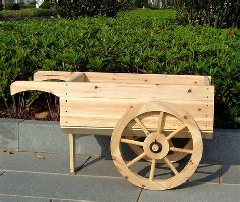 wooden wheelbarrow planter decorative display cart