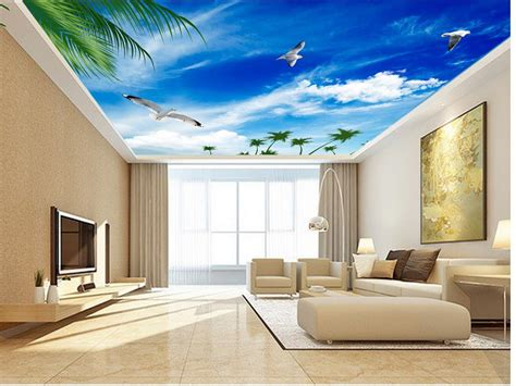 blue sky seagull ceiling  mural designs wallpapers