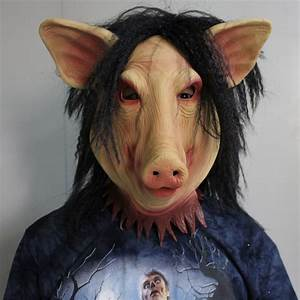 2018, New, Pig, Head, Scary, Masks, Novelty, Halloween, Mask, With, Hair, Halloween, Mask, Scary, Cosplay