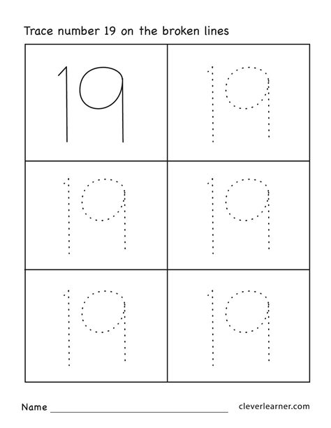 Number 19 Writing, Counting And Identification Printable Worksheets For Children
