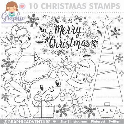 Christmas Merry Unicorn Stamps Stamp Digi Commercial