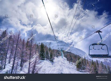 lake louise ski resort alberta canada stock photo