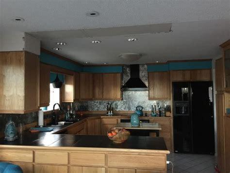 recessed lighting  kitchen peninsula