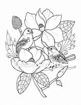 Coloring Needle Punch Birds Patterns Bird Enough Flowers Magnolias sketch template