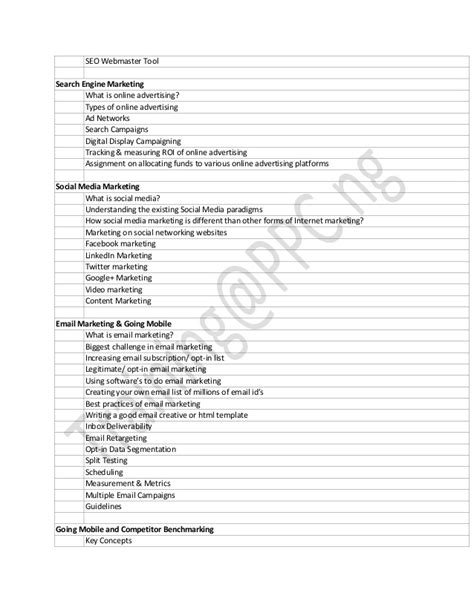 Digital Marketing Course Outline by Ppc Ng Digital Marketing Outline