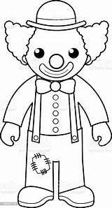 Clown Coloring Outline Circus Cartoon Illustration Vector sketch template